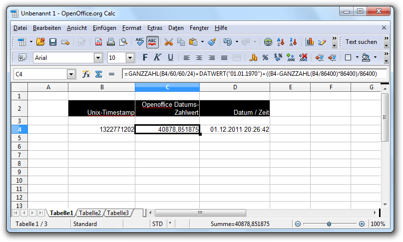 Umrechnung von Unix-Timestamps mit Hilfe einer Formel in OpenOffice