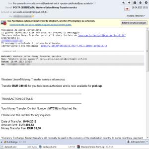 Western Union - signed virus mail