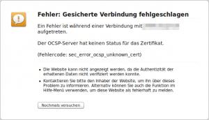 OCSP-Server Fehler Firefox
