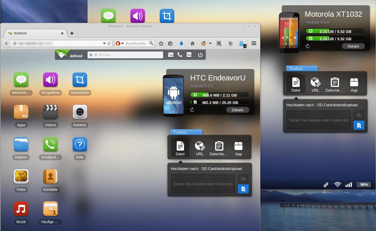 Android: Verwaltung per Webbrowser
