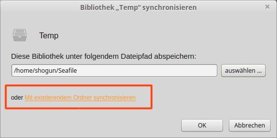 Seafile Client Bibliothek synchronisieren