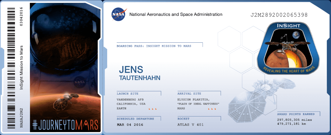 NASA Boarding Pass INSIGHT