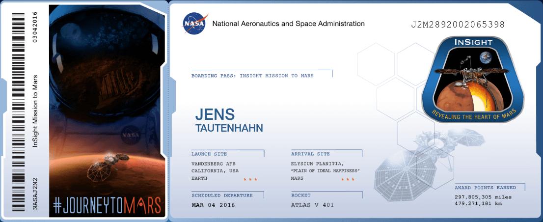 NASA Boarding Pass INSIGHT