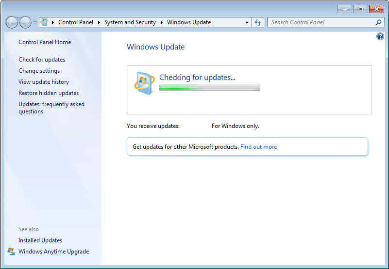 Windows 7 Suche nach Updates