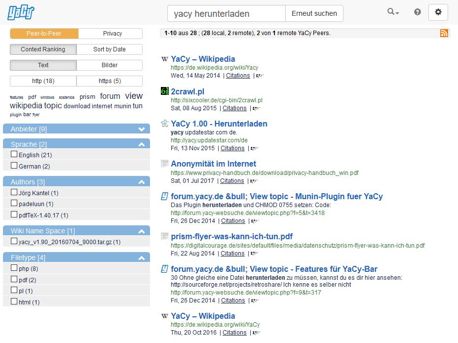 Yacy - Suchergebnisse