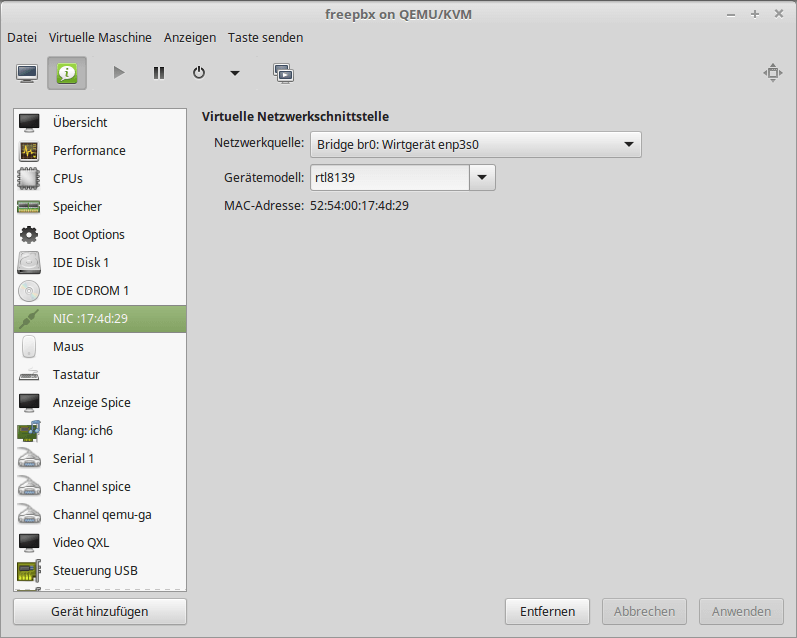 Bridge Interface in virt-manager