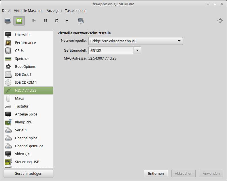 Bridge Interface in virt-manager