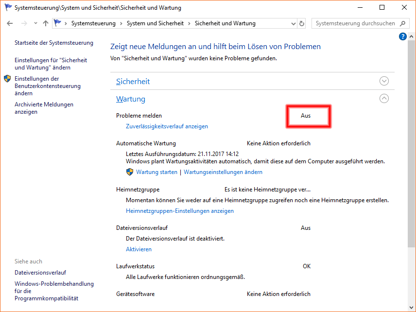 Windows Error Reporting ausgeschaltet